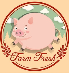 Logo design with fat pig vector