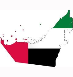 Map of the United Arab Emirates with national flag vector image