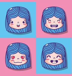 set girl face emoticon message vector image