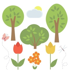 Set of elements for scrapbooking trees flowers vector image vector image