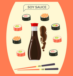 soy sauce bottle with sushi set and chopsticks vector image vector image