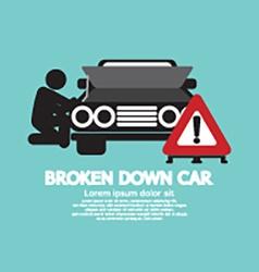 Broken down car symbol vector