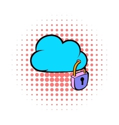 Cloud security icon comics style vector image