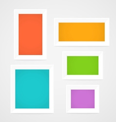 Color picture frames on a wall Template for a vector image