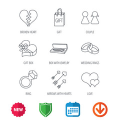 Love heart gift box and wedding rings icons vector