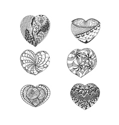 Set of Hand Drawn Sketch Hearts vector image vector image