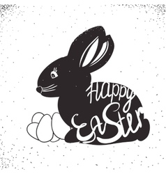 vintage bunny for Easter holiday Lettering hand vector image