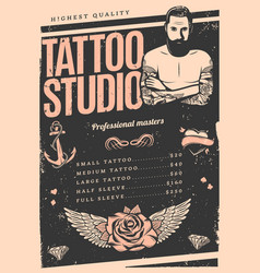 vintage tattoo studio poster vector image vector image