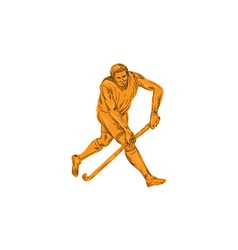 Field Hockey Player Running With Stick Drawing vector image vector image