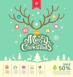 Merry Christmas reindeer sale concept vector image