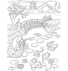 nature of japan coloring book for children cartoon vector image vector image