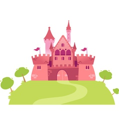 Pink cartoon castle vector