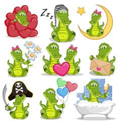 set of cute cartoon crocodile vector image vector image