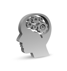 human head in the form of a symbol with gears in vector image