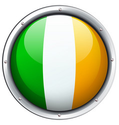 ireland flag on round badge vector image vector image