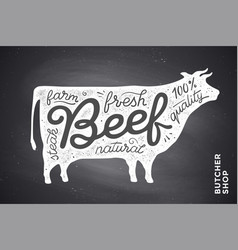 poster with red cow silhouette lettering vector image vector image