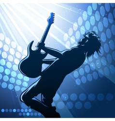 Rock guitar player on stage vector image vector image