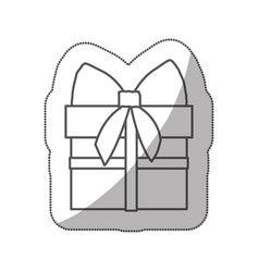 sticker silhouette gift box with ribbon wrapping vector image vector image