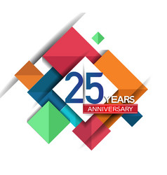 25 years anniversary design colorful square style vector