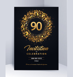 90 years anniversary invitation card template vector image