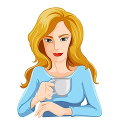 A businesswoman drinking a coffee vector