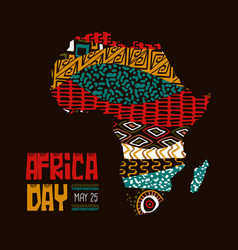 Africa day card african culture tribal art map vector