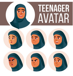 arab muslim teen girl avatar set face vector image