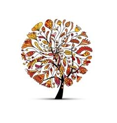 Art tree autumn season concept for your design vector