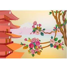 Banner on the background of sakura blossoms vector