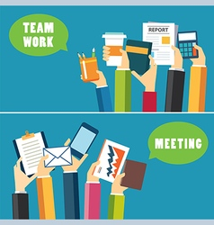 banner teamwork and meeting concept flat design vector image vector image