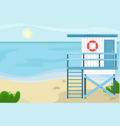beach landscape with a lifeguard house vector image