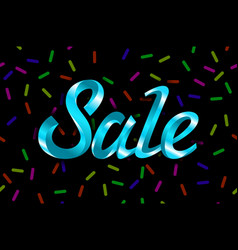 blue text sale lettering on black background vector image