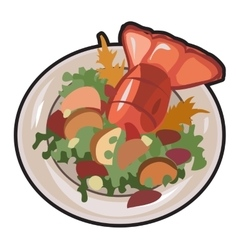 Boiled lobster with garnish isolated vector image