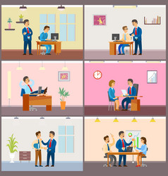 Boss employer with woman on interview meeting vector