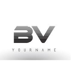 Bv black and white horizontal stripes letter logo vector