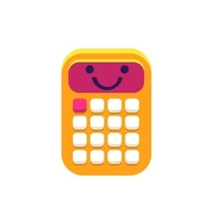 Calculator Primitive Icon With Smiley Face vector