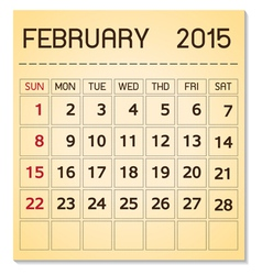 calendar 2015 02 February vector image