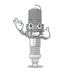 Call me miniature spark plug in cartoon shape vector