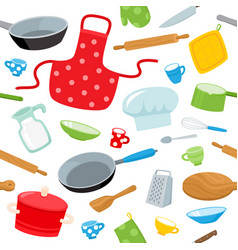Cartoon kitchen tools seamless pattern isolated on vector