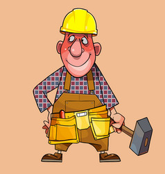 cartoon male worker in a helmet with a hammer in vector image