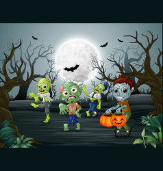 celebration halloween of zombie in dead forest vector image