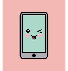 cellphone kawaii icon design vector image