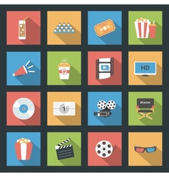 Cinema flat icons set vector image