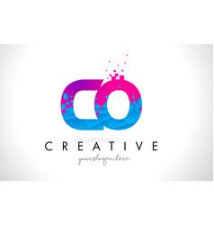 Co c o letter logo with shattered broken blue vector