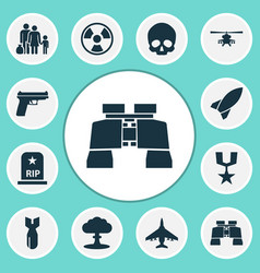 Combat icons set collection of cranium missile vector