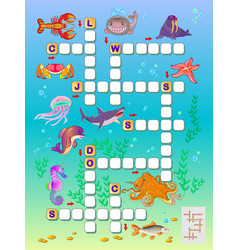 Crossword puzzle game for kids with sea animals vector