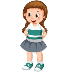 Cute braid girl character vector