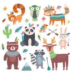 Cute tribal animal forest wild animals zoo vector