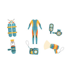 diving equipment set wetsuit underwater mask vector image