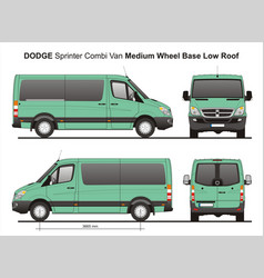 Dodge sprinter mwb low roof combi van vector